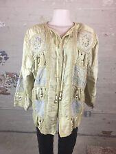 1980s Vintage Ja Resort Gold Raw Silk Brocade Tapestry Evening Jacket Small