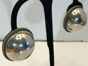 Vntg Mexico Sterling Silver 3D Puffy Chunky Geometric Round Dome Circle Earrings