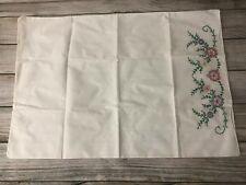 "Vintage Pillowcase Hand painted Pillow Case Handpainted 20"" x 29"" floral Vtg"