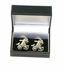 Capricorn The Goat Pewter Cufflinks Ideal Mens Horoscope Gift Boxed