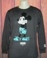 MENS NEFF DISNEY COLLECTION MICKEY MOUSE CHARCOAL LONG SLEEVE T-SHIRT SIZE S