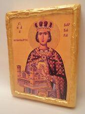 Saint Barbara Rare Christianity Eastern Greek Orthodox Religious Gold Icon Art