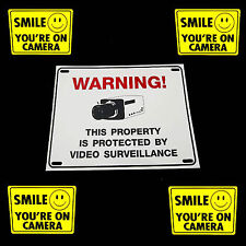 HOME SECURITY VIDEO CAMERAS SYSTEM WARNING SIGN+SMILE WINDOW DOOR STICKER DECALS