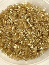 50g glass HEX seed beads - Gold Silver-Lined - size 11/0 (approx 2mm) 2-cut