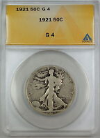 1921 Walking Liberty Silver Half Dollar, ANACS G-4, Good Coin