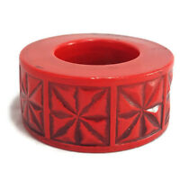 Vintage Midcentury Modern Ceramic Candle Holder Red Geometric Mod Pillar Japan