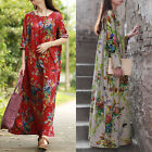 ZANZEA Women Oversized Long Sleeve Cotton Ethnic Floral Print Long Maxi Dress US