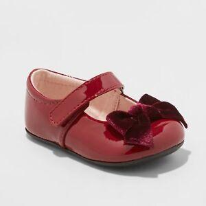 Cat & Jack Baby Infant Girl Dayja Bow Hook & Loop Ballet Flat Dark Red Patent