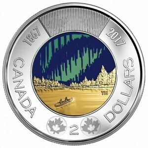 2017 Glow In The Dark $2 Coin 150 Years Special Ed Canada Northern Lights Toonie