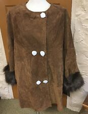 NWT Adrienne Landau Jacket Coat Suede Leather & Faux Fur Cuffs Brown Size 1X