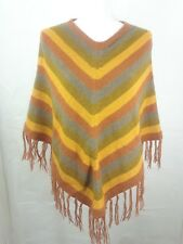Sanyork Women Sz Small/Medium 100% Alpaca Knit Poncho Fringe Chevron Denver *^