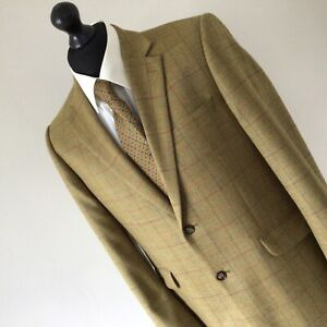 BROOK TAVERNER 100% Wool Checked Herringbone Country Jacket Mustard 40 Regular