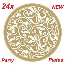 24x Gold Scroll Design Wedding / Party Paper Plates, New Sealed, 7 inch, 17.8cm