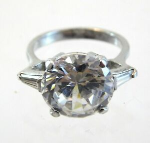 Sterling Silver Three Stone CZ Ring Large Round Cut Cubic Zirconia Size 7.25