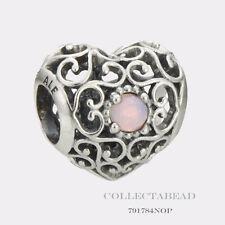 Authentic Pandora Silver October Signature Heart Opalescent Pink Bead 791784NOP