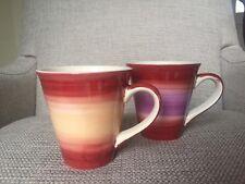 Whittard Of Chelsea Spinwash Mugs Red Purple Orange Attractive Pair