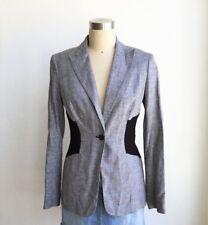 CALVIN KLEIN Women Black White Linen Blazer Small $119