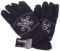 Joe Boxer Womens Black Gloves Silver Snowflake 3M 40g Thinsulate Snow Winter NEW