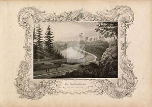 CANAL - Antique Engraving of 'Der Distellochdamm' Germany 1847 #B223