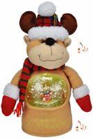 Singende Weihnachtsfigur Deko mit integrierter beleuchteter Schneekugel Rentier