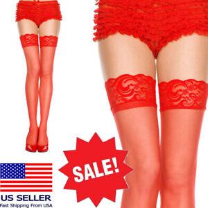 Sheer Mesh Floral Lace Top Solid Thigh Hi Stocking Burlesque Bridal Boudoir M-XL