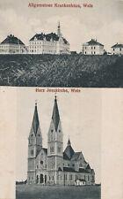 PK AK Oberösterreich Wels Krankenhaus Herz Jesu Kirche gelaufen 1923