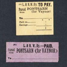 2 x London & North Western Railway Parcel Labels, PONTSARN FOR VAYNOR, LNWR