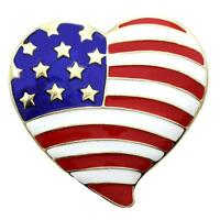 Gold Tone USA Flag Heart Brooch Valentine's Day Pin Designer Fashion Jewelry a1