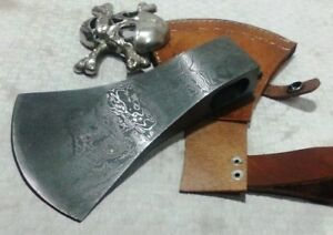 Custom handmade Damascus steel Viking AXE Head with leather Sheath