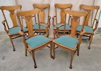 Set of 6 American Oak Pressed Back Dining ARMCHAIRS ARM CHAIRS with Claw Feet