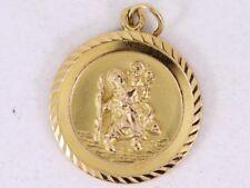 St Christopher Pendant 9ct Gold Ladies Gents Good Luck 375 3.5g Bm95