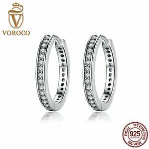925 Sterling Silver Eternity Hoop Earrings by Cloe and Tom