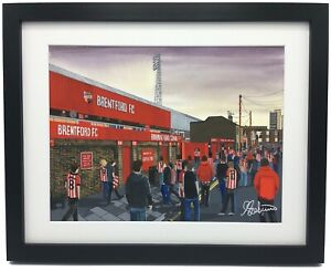 Brentford FC Griffin Park Stadium High Quality Framed Art Print Approx A4
