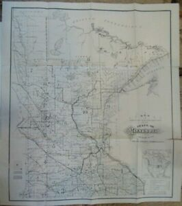 Circa 1870 Map of Minnesota issued by Board of Immigration