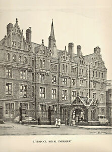 Vintage Print: LIVERPOOL ROYAL INFIRMARY after Pencil Drawing by GRAHAM CLILVERD