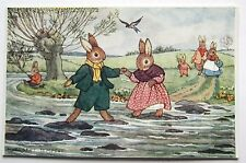 A/S Medici Margaret Tempest RABBIT Stepping Stones at Creek Postcard Pkt. 106