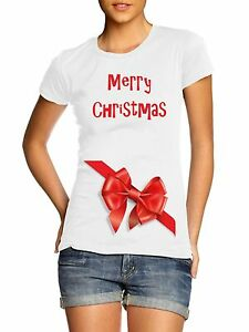 Merry Christmas Festive Ribbon Pregnancy Maternity T Shirt Top Mum Mummy Present