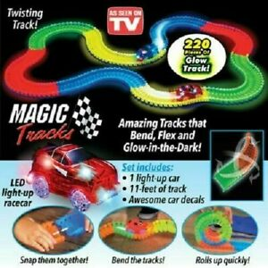 220 Piece Magic Race Flexible Track Glow In The Dark FREE Toy Car Play Set LED