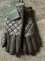 Nwt Lauren By Ralph Lauren Womens Touch Gloves Size Medium Quilted Black J7