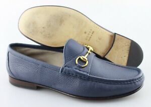 Men's GUCCI '1953 Horsebit' Blue Leather Loafers Size US 9.5 UK 8.5