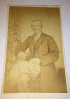 Antique Civil War Era Victorian American Gentleman! Tint! Long Coat CDV Photo!