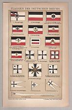 Deutsches Reich - Flaggen, Fahnen, Wimpel, Standarten -  Lithographie um 1900