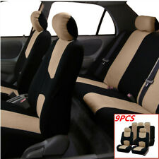 9pcs Universal Car Seat Protection Covers Full Set Cushion Four Seasons Beige