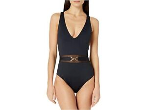 New La Blanca's Mesh-Merizing Belted Plunge One Piece Swimsuit Size 8