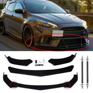 Front Bumper Lip Spoiler Splitter+Strut Rods For Ford Fiesta MK7 MK6 MK5 MK4 MYG