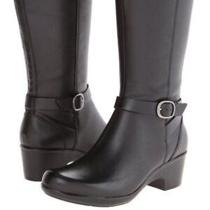 CLARKS - Malia Poplar Black Leather Knee High Boots Size 7/41