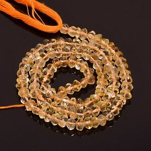 """53.95 Ct. Natural Citrine Gemstone Rondelle Faceted Beads Strand 14"""" PB-9366"""