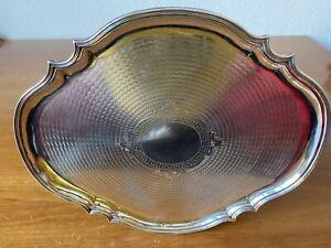 Silbertablett, Chippendale-Stil, 800er Silber, Dianakopf-Punze, Österreich, 399g