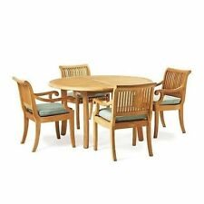 "5 PC DINING TEAK SET GARDEN OUTDOOR PATIO FURNITURE GIVA ARM  (48"" ROUND TABLE)"