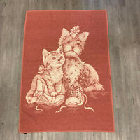 Vintage Cannon Throw Blanket Cats & Dogs Kitten & Puppy Ribbons Reversible 90s